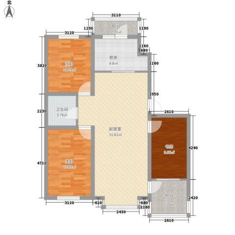 大禹城邦3室0厅1卫1厨120.00㎡户型图