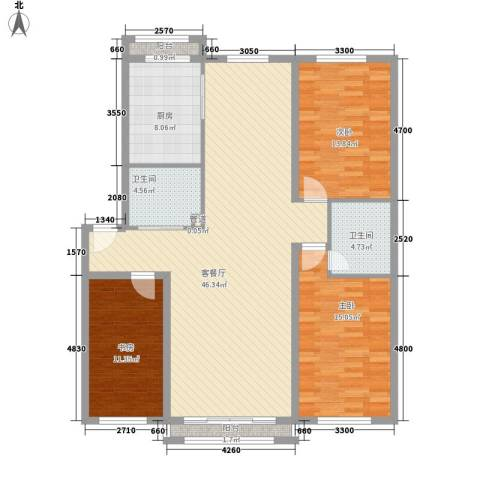 清华小区3室1厅2卫1厨151.00㎡户型图