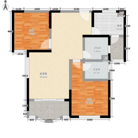 中祥哥德堡2室0厅2卫1厨105.00㎡户型图