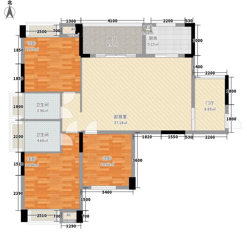 乾隆・尚书苑123.24㎡2#栋标准层E户型3室2厅2卫1厨