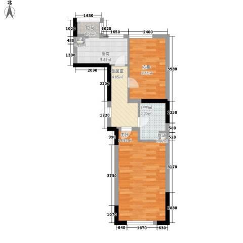 大禹城邦2室0厅1卫1厨55.00㎡户型图