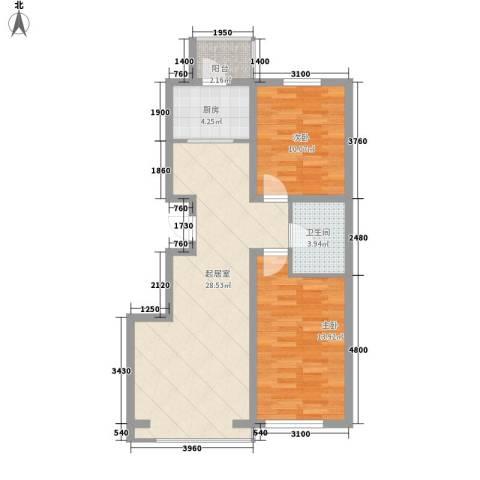 大禹城邦2室0厅1卫1厨90.00㎡户型图