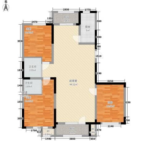 南湖祥水湾3室0厅2卫1厨143.00㎡户型图