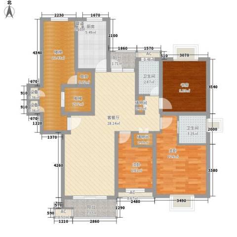 恒杰丁香花园3室1厅2卫1厨139.00㎡户型图