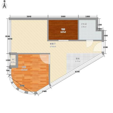 金隅可乐2室1厅1卫0厨81.00㎡户型图