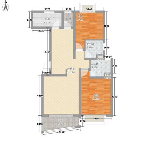 金谊河畔二期2室0厅2卫1厨107.00㎡户型图