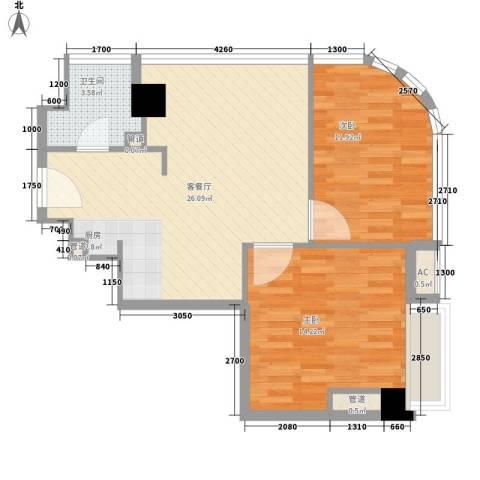 金隅可乐2室1厅1卫0厨98.00㎡户型图
