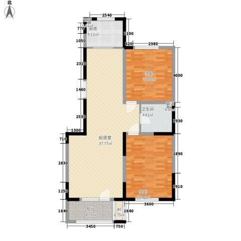 南湖祥水湾2室0厅1卫1厨110.00㎡户型图