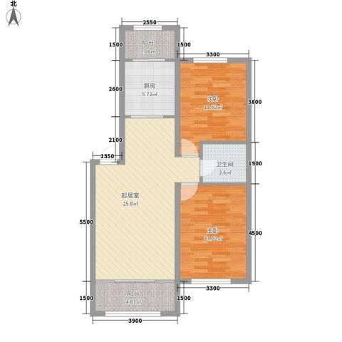 阳光新城三期中央街区2室0厅1卫1厨95.00㎡户型图