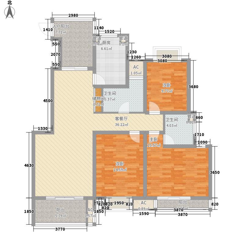 复地公园城邦130.00㎡舒阔户型(已售完)户型3室2厅2卫