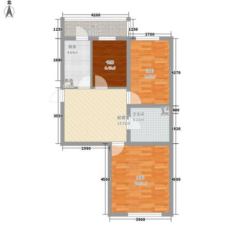 红田美林居3室0厅1卫1厨86.00㎡户型图