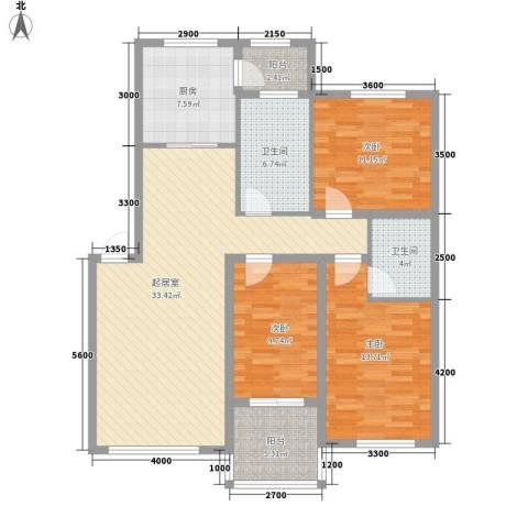 阳光新城三期中央街区3室0厅2卫1厨123.00㎡户型图