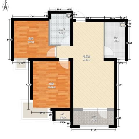 文教小区2室0厅1卫1厨87.00㎡户型图