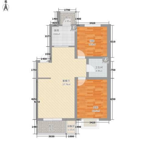风华时代2室1厅1卫1厨87.00㎡户型图