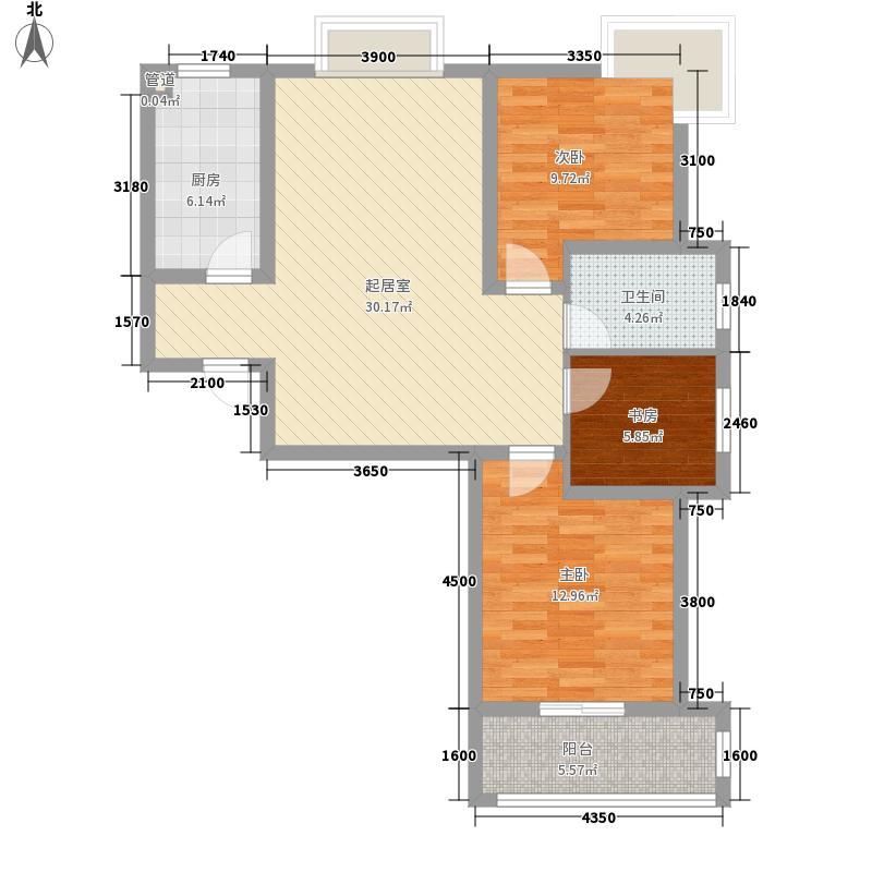 滨湖前城97.50㎡滨湖前城户型图20080725-B01B02B03楼A户型3室2厅1卫1厨户型3室2厅1卫1厨