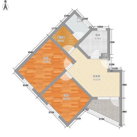 罗山花苑二期2室0厅1卫1厨75.00㎡户型图