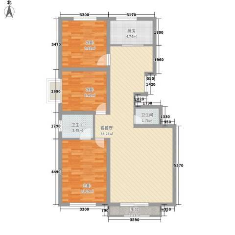 华侨新村3室1厅2卫1厨114.00㎡户型图