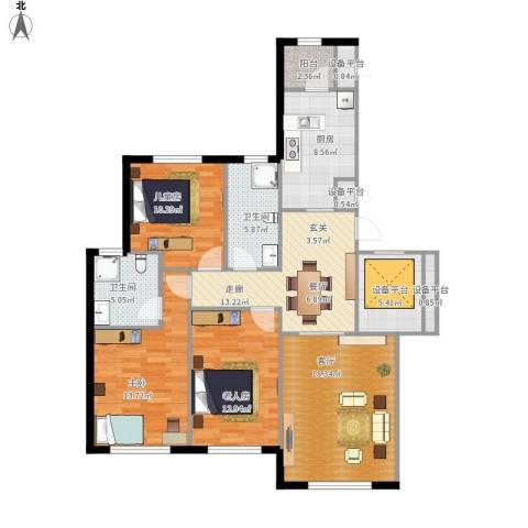 伟峰东樾3室1厅2卫1厨136.00㎡户型图