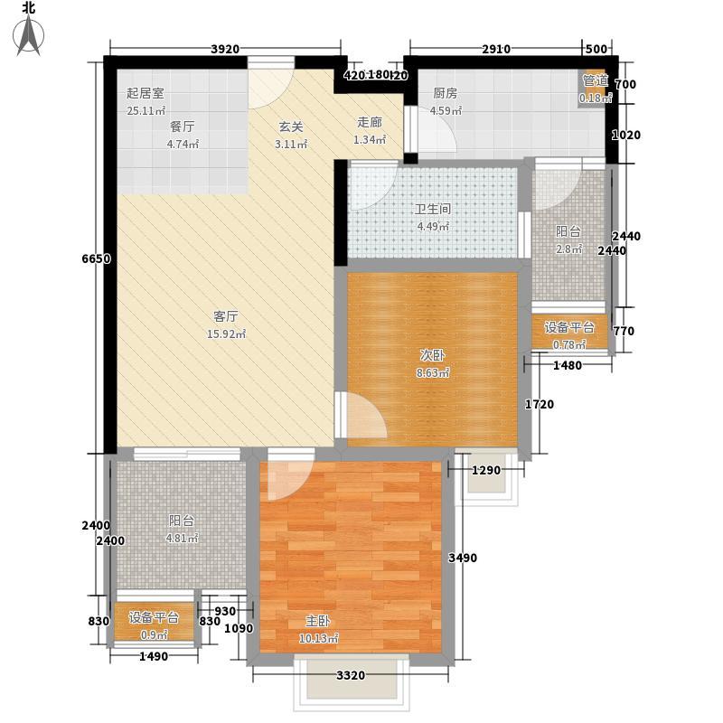 龙湖两江新宸高层29幢标准层6号房户型2室2厅1卫1厨