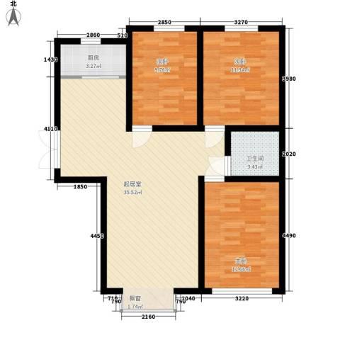 鼎盛国际3室0厅1卫1厨110.00㎡户型图