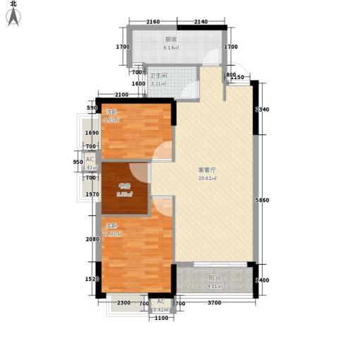 金碧文苑3室1厅1卫1厨89.00㎡户型图