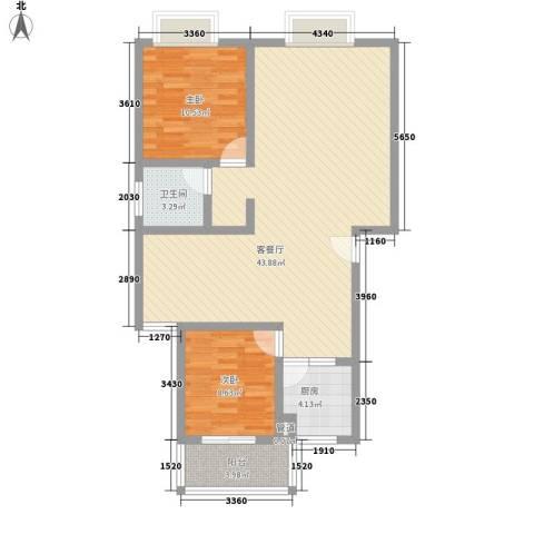 王府春天花园2室1厅1卫1厨108.00㎡户型图