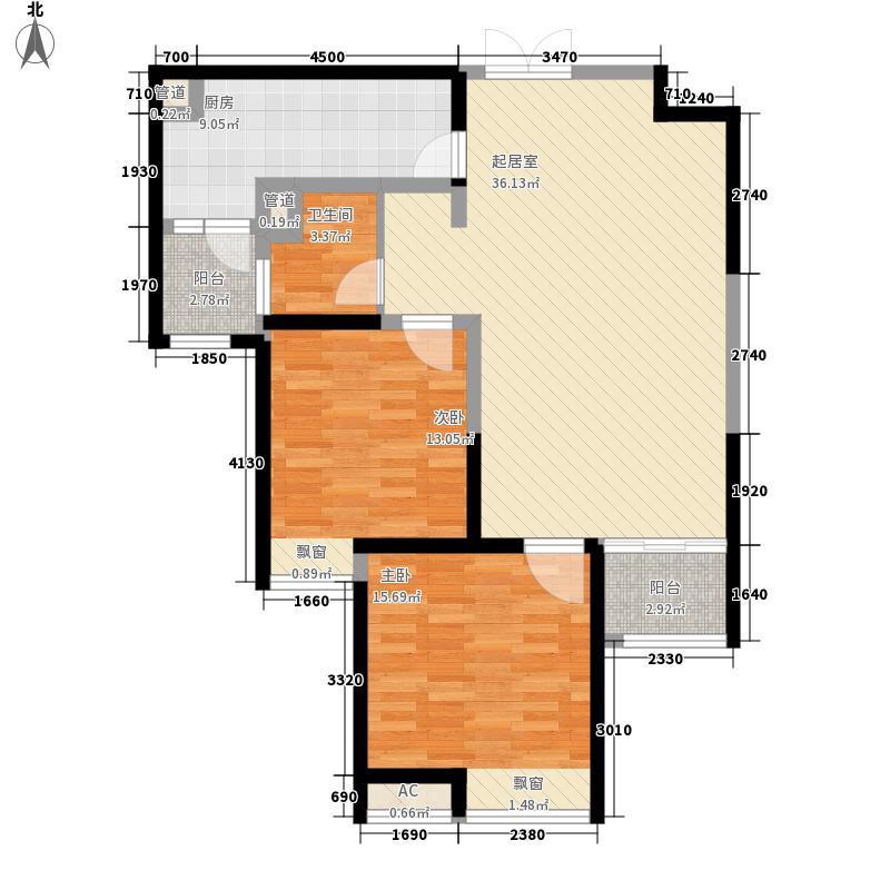 兰州红星国际广场95.00㎡二期12#J-02户型2室2厅1卫1厨