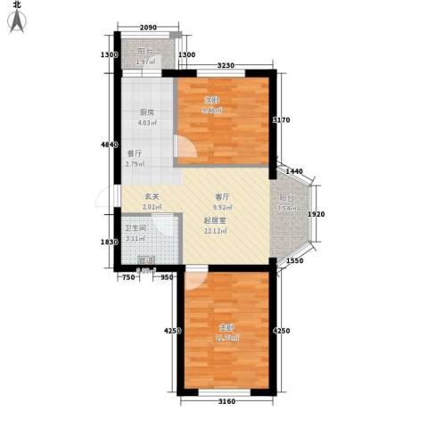 海富山水文园2室0厅1卫0厨55.00㎡户型图