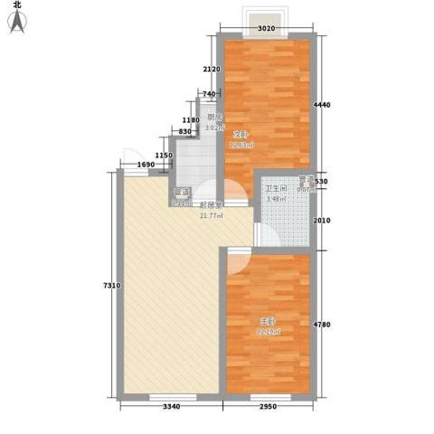 大江原筑2室0厅1卫1厨82.00㎡户型图