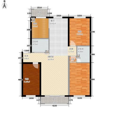 天一家源19533室0厅2卫1厨150.00㎡户型图