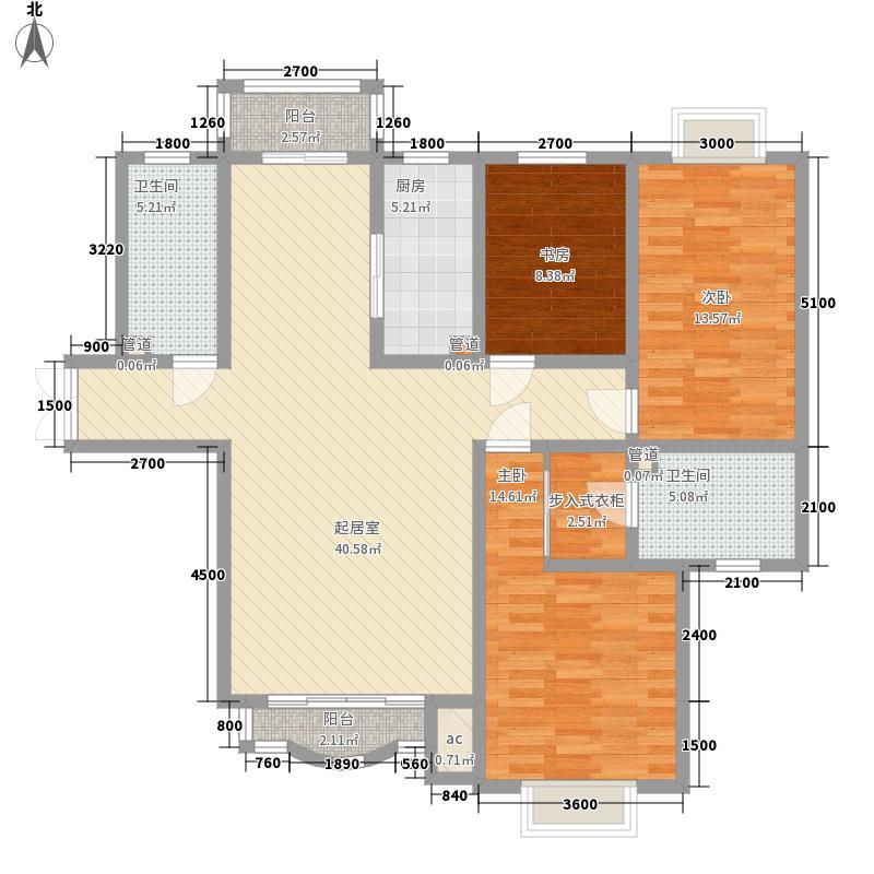 天庆莱茵小镇142.07㎡2号楼f3户型3室2厅2卫1厨