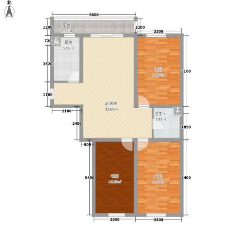 红田美林居3室0厅1卫1厨132.00㎡户型图