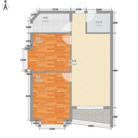 三亚椰岛阳光花园2室0厅1卫1厨80.00㎡户型图