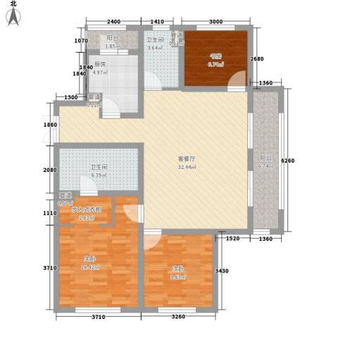 景瑞望府3室1厅2卫1厨130.00㎡户型图