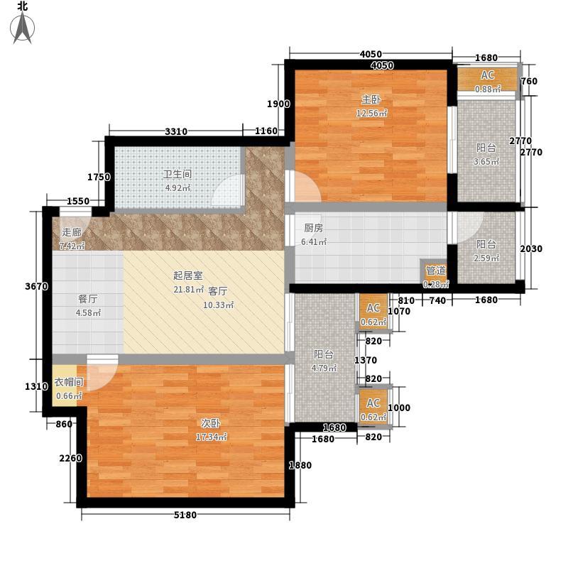 永翌公馆6.81㎡11-07户型2室2厅1卫1厨