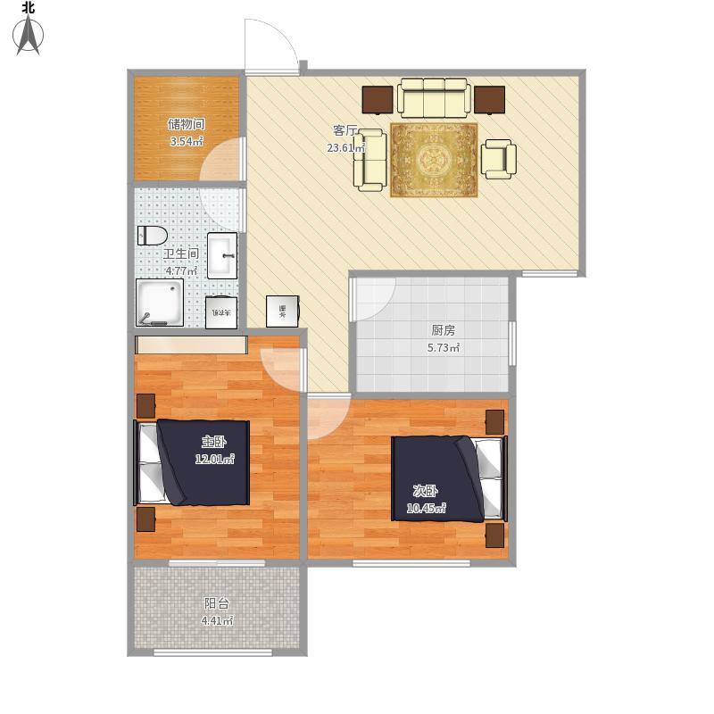 太原-怡然家园-88.21㎡设计方案