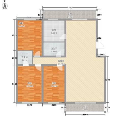 新宇富贵苑3室1厅2卫1厨190.00㎡户型图