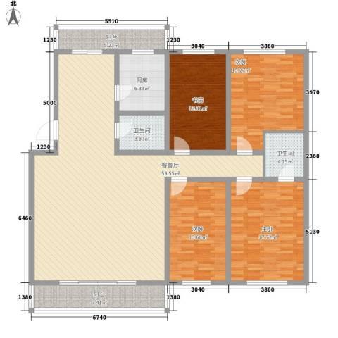 新宇富贵苑4室1厅2卫1厨208.00㎡户型图