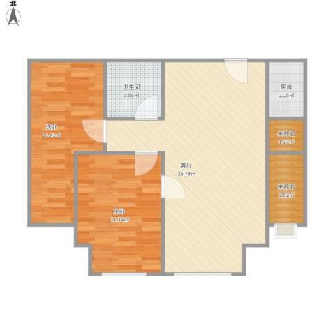 上上城第三季2室1厅1卫1厨80.00㎡户型图