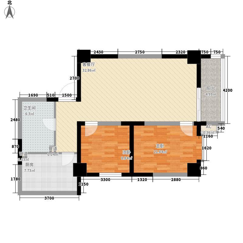 华峰大厦101.05㎡F户型2室2厅1卫1厨