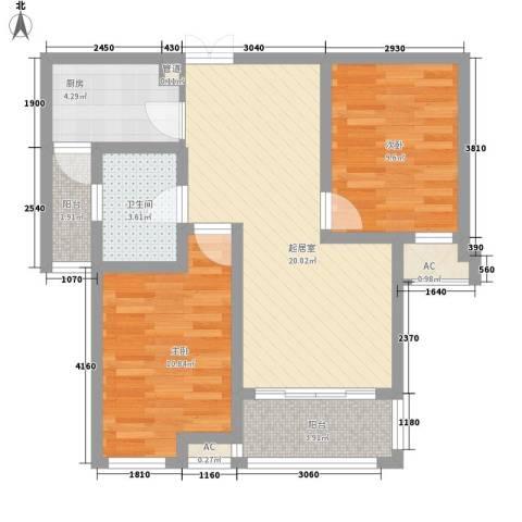 步阳御江金都2室0厅1卫1厨83.00㎡户型图