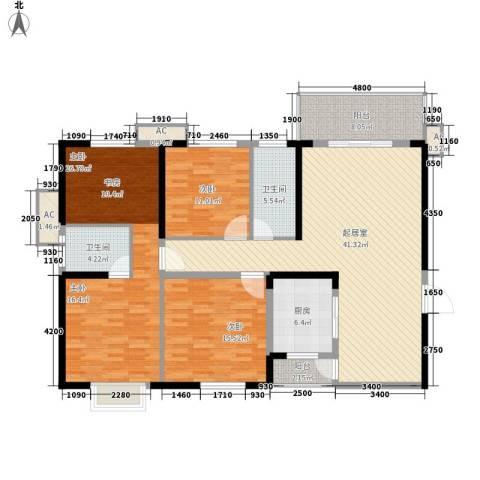 麓江春3室0厅2卫1厨152.00㎡户型图