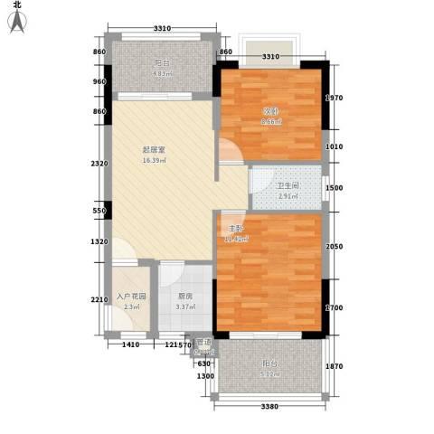 珍珠湾・风情小镇2室0厅1卫1厨81.00㎡户型图