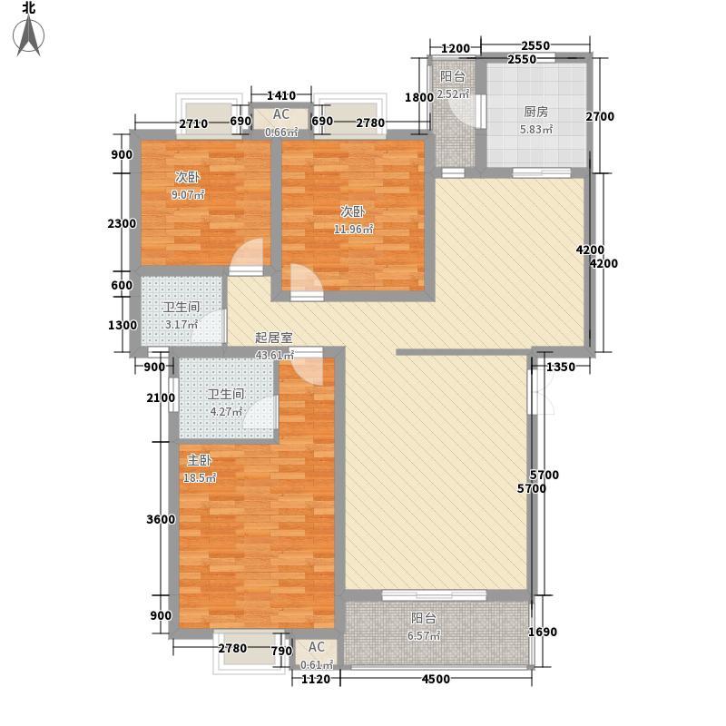 美联墅2号126.40㎡B型锦织明苑户型3室2厅2卫1厨