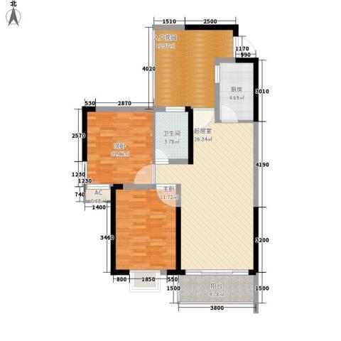 麓江春2室0厅1卫1厨89.00㎡户型图