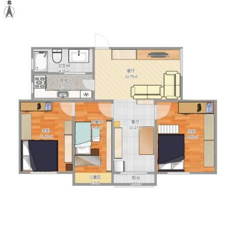 恒大华城东林苑3室1厅1卫1厨90.00㎡户型图