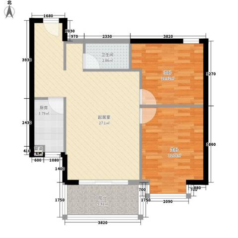 三亚椰岛阳光花园2室0厅1卫1厨62.34㎡户型图
