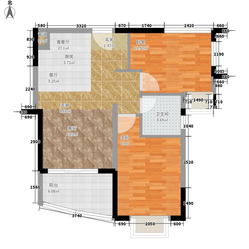 富力湾75.00㎡富力湾户型图H区1号2房2厅户型图2室2厅1卫1厨户型2室2厅1卫1厨