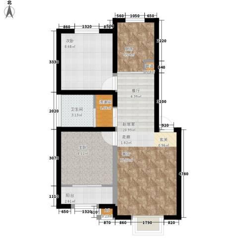 紫荆花园六期2室0厅1卫1厨59.59㎡户型图