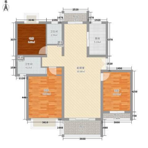 碧云新天地三期3室0厅2卫1厨132.00㎡户型图